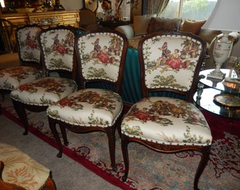FRENCH CHAIRS with TOILE Fabric