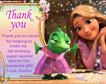 Rapunzel tangled thank you card, Rapunzel Thank you card - Digital file