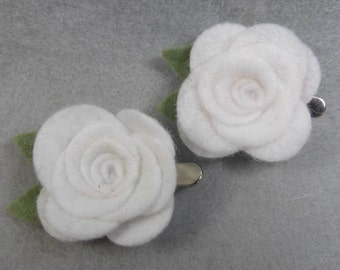 White Flower Barrette Set (2), Girls Barrette, Girls Clip, Felt Flower Barrette, Felt Flower Clip, Felt Barrette, Felt Clip, Flower Hair