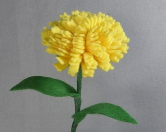 Yellow Carnation Stem Made-To-Order- Artificial Flower - Fake Flower - Felt Flower - Felt Carnation - Fake Carnation - Artificial Carnation