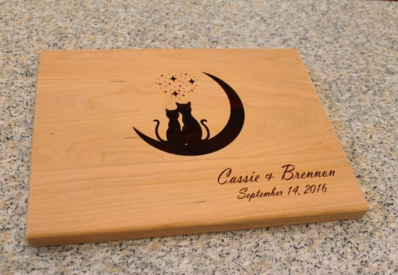 Personalized Wedding Gifts Kitchen : Board Cat Lover Gift Custom Wedding Gift Anniversary Gift Kitchen ...
