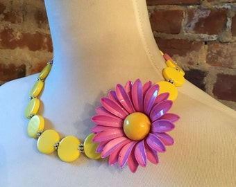 Sunshine Yellow and Fuchsia Pink Acrylic Statement Necklace with Flower Brooch