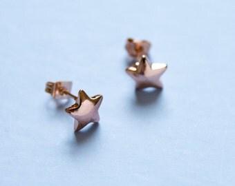 Rose gold colored star studs - star earrings - dainty star earrings