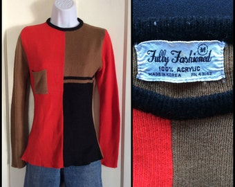 1970's Mod Color Block thin knit Skinny Sweater size Medium Red Brown Black