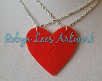Red Laser Cut Split Heart Best Friends Couples Necklace Set of 2 Necklaces on Silver or Gold Crossed Chain or Black Faux Suede Cord