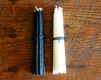 "1 Dozen- 100% Pure Beeswax Birthday Candles in Black or White - 4"" or 6"""