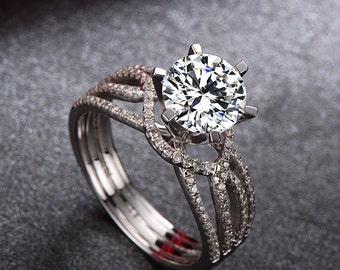Forever Brilliant Moissanite Engagement Ring, 18k White Gold Ring ,Engagement Ring, Anniversary Ring