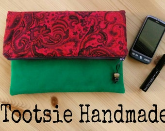 Vintage Fabric Fold Over Clutch, green clutch, Paisley fabric clutch, handmade purse, bridesmaid gift, red clutch, evening wear