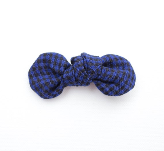 Navy & Black Plaid Linen Knotty Gal Baby Girl Hair Bow  : Winter Collection