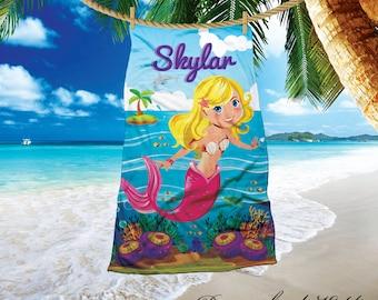 Personalized mermaid beach towel, 30 x60 beach towel, fantasy mermaid beach towel,  birthday gifts, mermaid theme, magical mermaid towel
