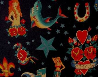 Fabric,Tattoo, Black Alexander Henry, Mermaid Heart Skull Shark Tattoos, One Yard or More