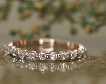 Rose Gold Diamond Wedding Band, 5/8 Eternity, Single Shared Prong with Closed Baskets, 0.36tcw, 2mm Wide, Stackable, Brooke