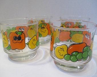 Vintage 4 Juice Glasses Fruit Nancy Lynn Design