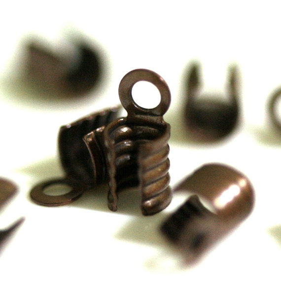 100 pcs antique copper brass fold over cord end tips findings leather crimps end tip (3 mm) CSS4TC-16