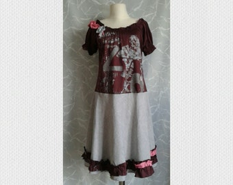 bohemian,lagenlook dress,mahogany,grey,pink,refashioned dress,tattered,repurpose,cotton stretch,L-XL