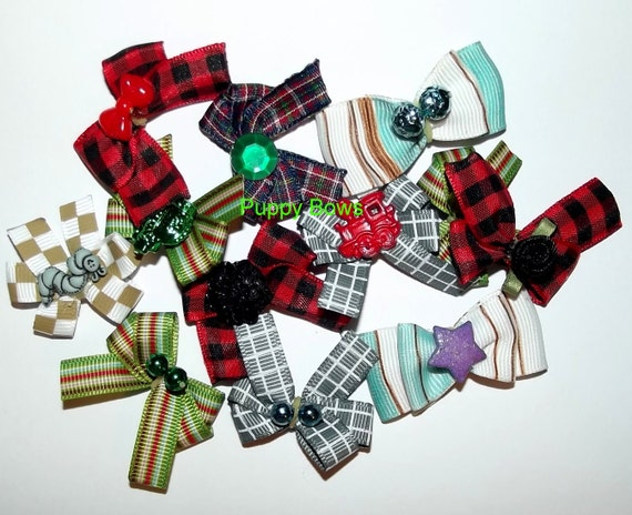 Puppy Bows ~male Yorkie BOY bow sets camo pawprints stars blue green black ~USA seller