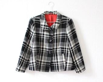 70s checkered blazer, black white checkered blazer, Vintage blazer, vintage jacket, black white blazer