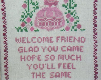 Vintage Amish Cross Stitch Picture Welcome Friend Hand Stitched and Framed