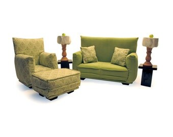 Barbie Doll Living Room Furniture 9-PC Play Set -1:6 scale-Light Green print-works with any Blythe and 11 inch fashion doll