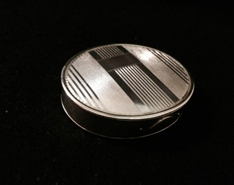 Vintage Solid Sterling Silver Guilloche Snuff Pill Trinket Box