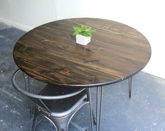 "42"" round kitchen table with steel hairpin legs"