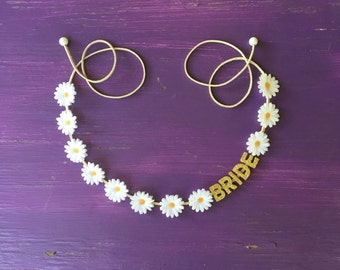 Bridal Shower Flower Crown, Bachelorette Party Flower Crown, Daisy Flower Crown, Bridal Shower Headband, Bride to Be
