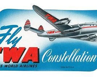 Vintage TWA Constellation Poster A3 Print