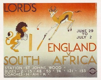 1935 Lord's Cricket Test London Buses Poster A3 Reprint