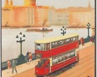 1928 London Trams Advert A3 Poster Reprint