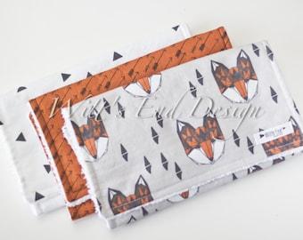 NEW Modern Cotton Chenille Burp Cloths, Set of 3-Fox Set