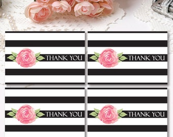 Floral Thank You Tags, Striped Thank You Favor Tags, Black & White Tags, Floral Thank You Tags, Printable Tags Bridal Shower Baby Shower