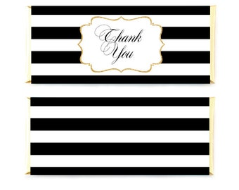 Printable Candybar Wrappers, Black Striped Candy Wrappers, Thank You Candy Wrappers, Wedding CandyBar Wrappers, Gold Digital Wrappers