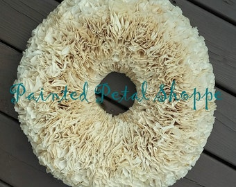 """18"""" Tea-Stained Cream Coffee Filter Wreath/ Rustic Home Decor/ Shabby Chic Wedding"""
