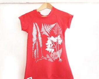 SALE Hipster Kids Girl Dress, Red Cotton Screen Printed Toddler Tee Shirt Dress / Tunic, Botanical Theme, Sizes US 2-6, Trendy Kids Dress