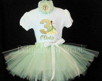 Birthday Tutu Set, Princess Tiana Tutu, Disney Princess Tutu Set, Disney Birthday Tutu, Princess Tutu Outfit