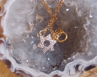 Diamond and 14k Gold Star of  David Necklace