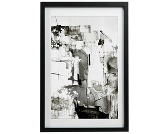 Giclee Art Print, Ink Drawing, Abstract Contemporary Art, Black and White Wall Decor, Modern Art Wall