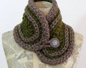 Crocheted Collar, Olive and Taupe with Silver Sparkle and Button Closure