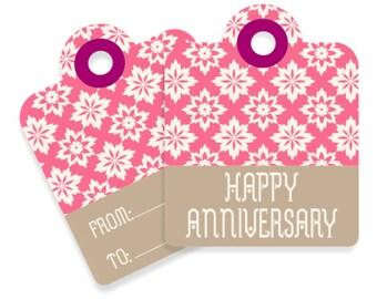 6 Pack Retro Multi-Colour Custom Handmade 'Happy Anniversary' Gift Tag, Hang Tag, Gift Label