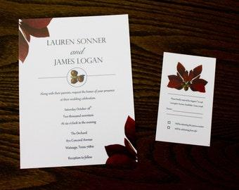 Fall Wedding Invitation and RSVP - DIY Printable Download