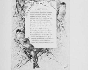 A Symphony of Spring - Poem of Song Birds - Late 1800s Vintage Print