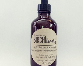 Wild MAINE Birch Polypore tincture INFUSED with Wintergreen Berries