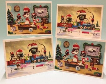 Christmas cards - packet of 4 limited edition cards, signed and numbered by the artist Martin Harris