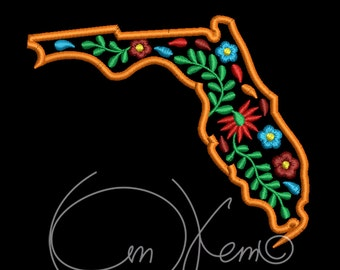MACHINE EMBROIDERY DESIGN - Florida state embroidery design, Mexican design, Calavera, Dia de los muertos, Day of the dead