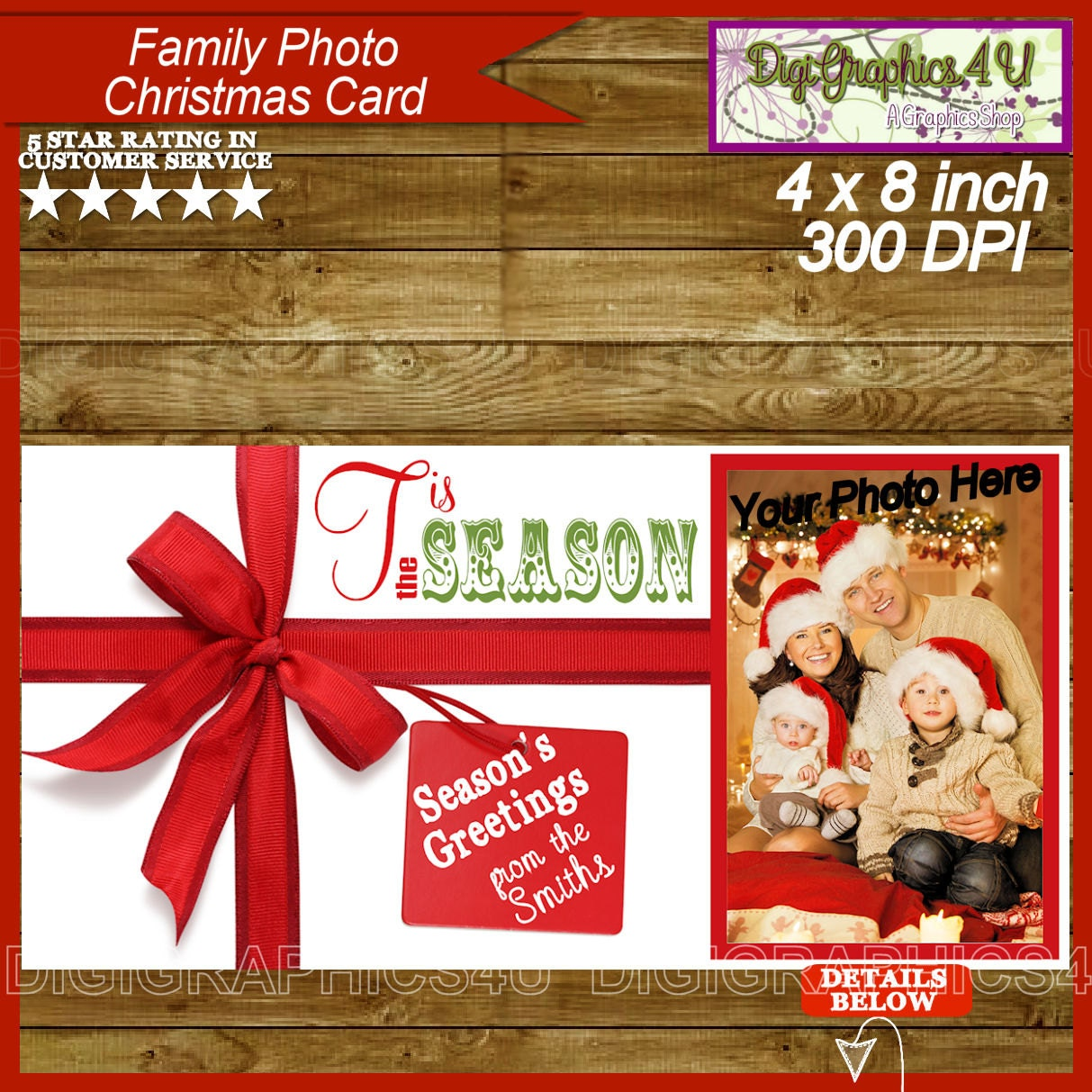 Family christmas card personalized printable by digigraphics4u for Unique family christmas cards