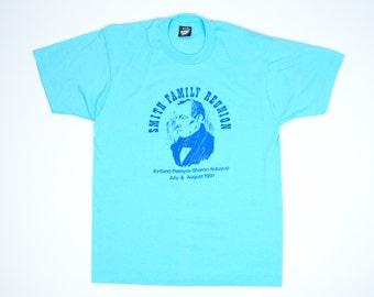 Joseph Smith Tshirt - 90s Mormon Tshirt L - LDS Church Tshirt Large - Smith Family Reunion - Teal Tshirt 90s Print Large