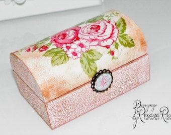 Handmade jewelry box storage box vintage roses gift box keepsake box girls jewelry holder wooden box decoupage box small jewelry box