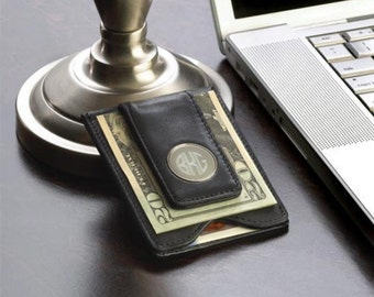 Personalized money clip wallet monogrammed customized monogram engraved custom wallets clips for men leather RR10847