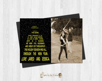 Star Wars Christmas Card Printable Photo Greeting Custom Holiday Digital File Geek Nerd Opening Crawl Download Classic