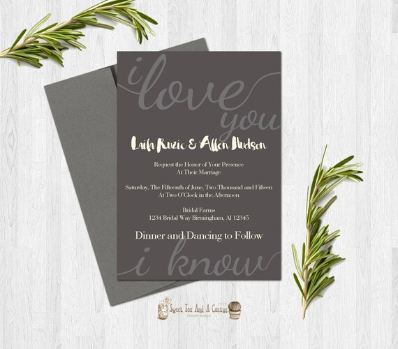 star wars wedding invitation printable han and leia quote, Wedding invitations